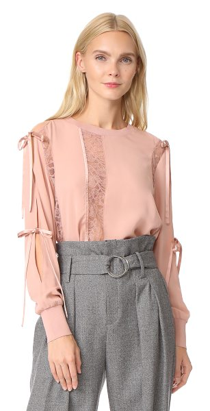 3.1 Phillip Lim lace blouse in blush - A feather-light 3.1 Phillip Lim blouse with tonal lace...