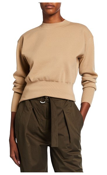 3.1 Phillip Lim Long-Sleeve Military Rib Mock-Neck Sweater in light brown