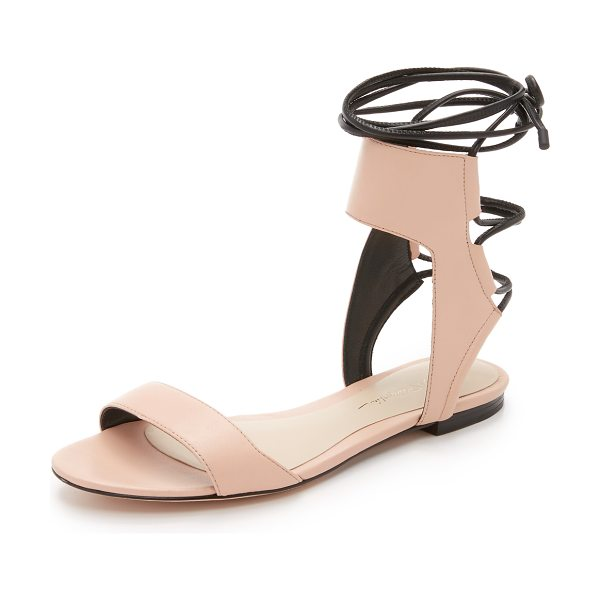 3.1 Phillip Lim Martini ankle lace flat sandals in light peach - Smooth leather composes these sophisticated 3.1 Phillip...