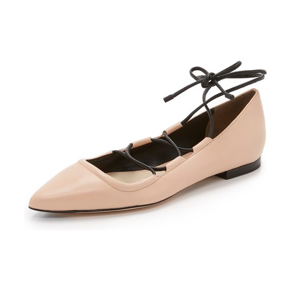 3.1 Phillip Lim Martini lace up flats in light peach - Pebbled leather 3.1 Phillip Lim flats in a pointed toe...