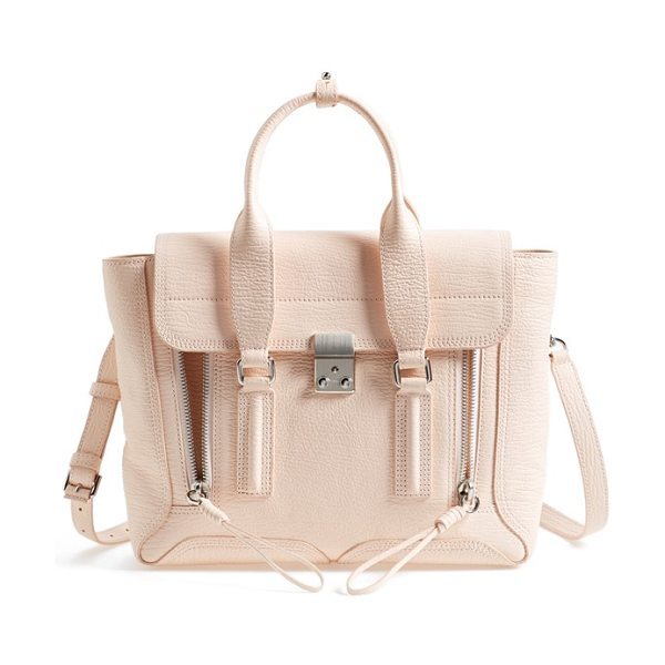 3.1 Phillip Lim Medium pashli leather satchel in white peach/ white peach - Exposed zip-gussets and brushed hardware complement a...
