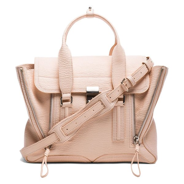3.1 Phillip Lim Medium pashli satchel in neutrals - Full grained leather with fabric lining and silver-tone...