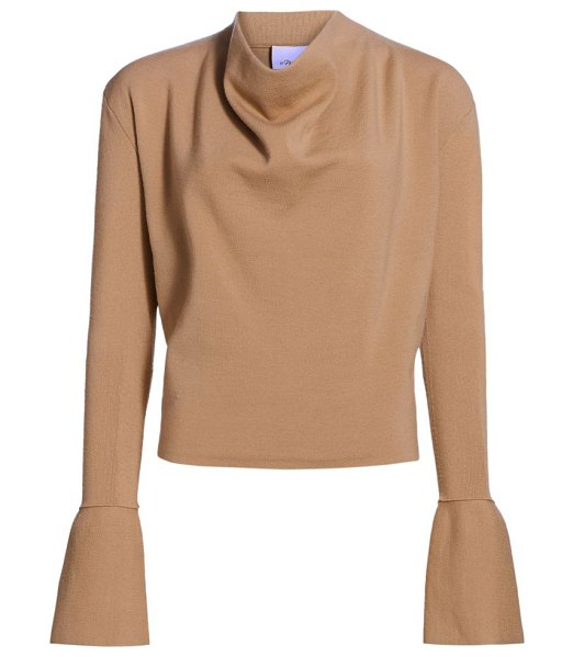 3.1 Phillip Lim military long-sleeve ribbed cowl-neck sweater in fawn