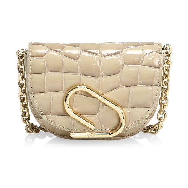 3.1 Phillip Lim mini alix croc-embossed leather card-case-on-chain in dune