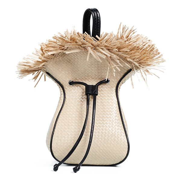3.1 Phillip Lim mini punching bag in natural black - Fabric: Straw Fringed opening Leather trim Drawstring at...