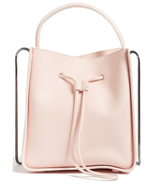 3.1 Phillip Lim mini soleil leather bucket bag in light pink - Clean, minimalist lines and an optional snake-chain...