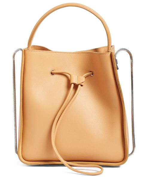 3.1 PHILLIP LIM mini soleil leather bucket bag in tan - Clean, minimalist lines and an optional snake-chain...