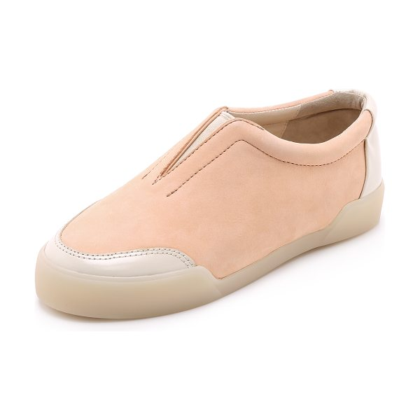 3.1 Phillip Lim Morgan low top sneakers in peach/latte - These luxe nubuck slip on sneakers are trimmed with...