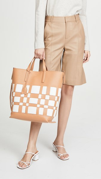 3.1 Phillip Lim odita modern lattice shopper bag in camel/white