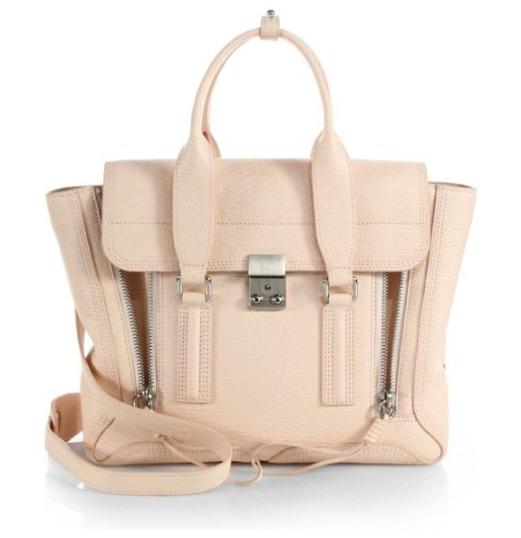 3.1 Phillip Lim Pashli medium satchel in whitepeach - A roomy style in lovely, textured leather accented with...