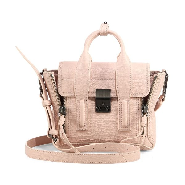 3.1 Phillip Lim pashli mini leather satchel in petal - Iconic mini leather silhouette framed with zip gussets....