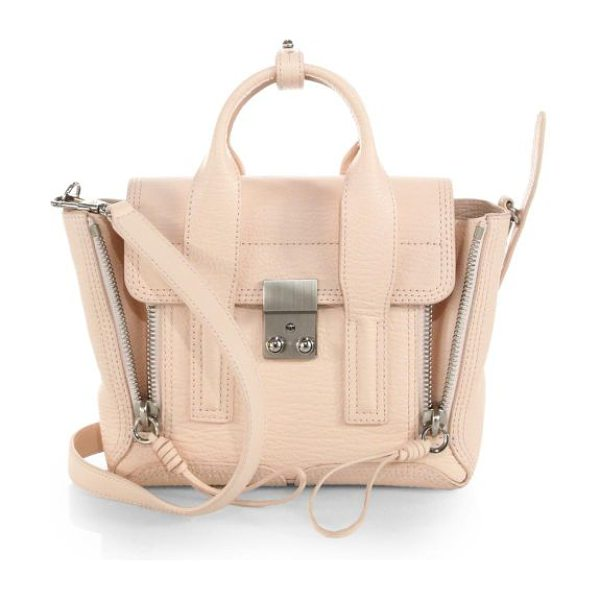3.1 Phillip Lim Pashli mini shark-embossed leather satchel in whitepeach - A street-ready style in signature shark-effect leather...