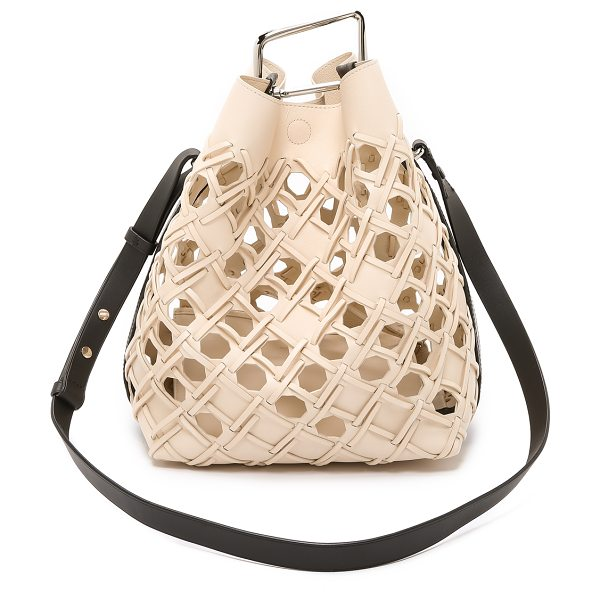 3.1 Phillip Lim Quill perforated bucket bag in powder - Honeycomb woven leather detailing updates this chic, two...