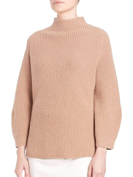 3.1 Phillip Lim Ribbed mockneck sweater in camel - Classic pullover with lush applique...