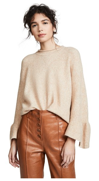 3.1 Phillip Lim ruffle cuff pullover in ecru - Fabric: Brushed knit Flare sleeves Pullover style...