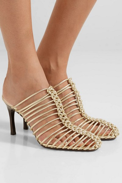 3.1 Phillip Lim sabrina woven metallic leather mules in gold