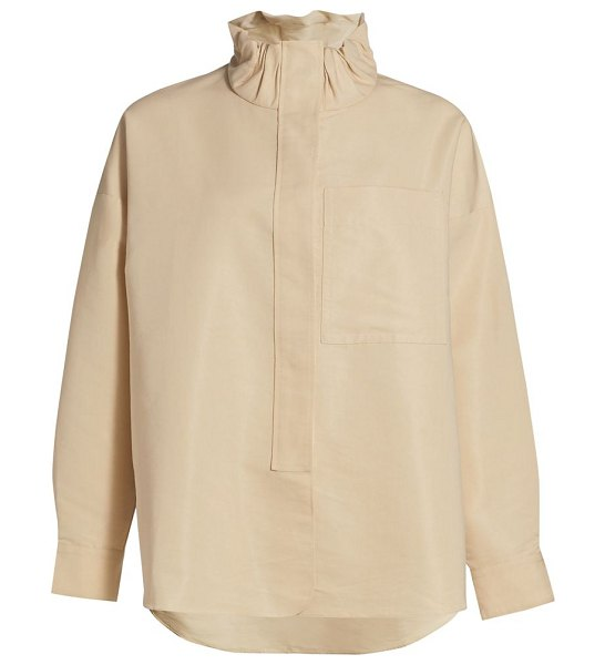 3.1 Phillip Lim scrunch funnel neck shirt in beige
