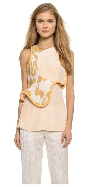 3.1 Phillip Lim Side cutout sleeveless top in blush - Thick piping and rich brocade give this elegant 3.1...