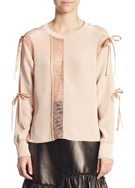 3.1 Phillip Lim silk long sleeve top in blush - Silk top with lace details and ties at sleeves....