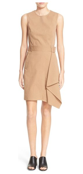 3.1 Phillip Lim sleeveless dress with trench detail in khaki - An asymmetrical panel cascades gracefully down the skirt...