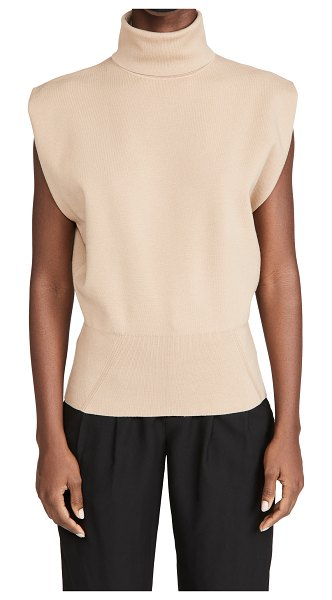 3.1 Phillip Lim sleeveless military rib mock neck pullover in fawn