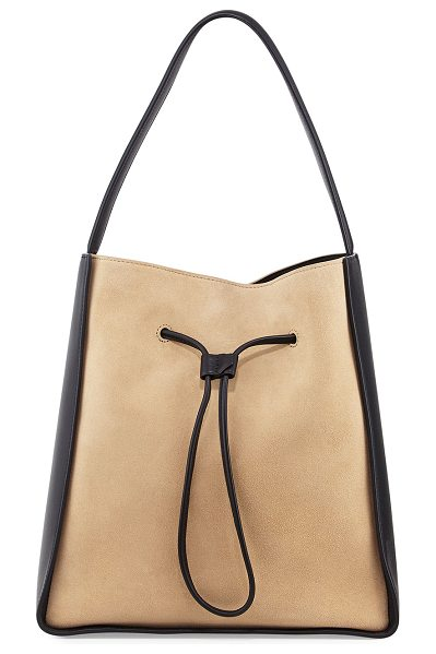 3.1 PHILLIP LIM Soleil Large Drawstring Bucket Bag in almond-blk - 3.1 Phillip Lim leather and suede bucket bag. Flat top...
