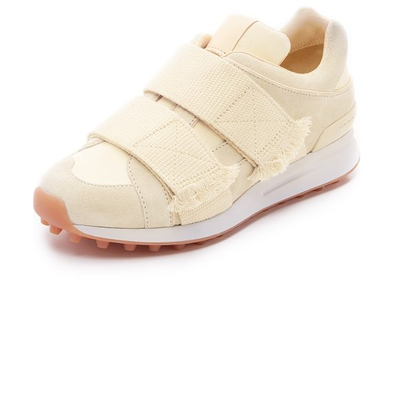 3.1 Phillip Lim Trance sneakers in creme - Suede and mesh panels compose the upper on these low top...