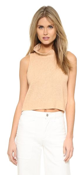 3.1 Phillip Lim Turtleneck knit tank in light camel - A plush 3.1 Phillip Lim sweater in a sleeveless, cropped...