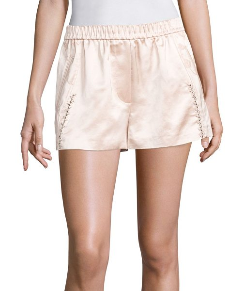 3.1 Phillip Lim western embellished shorts in powder pink - Embellished floral shorts in lustrous finish....
