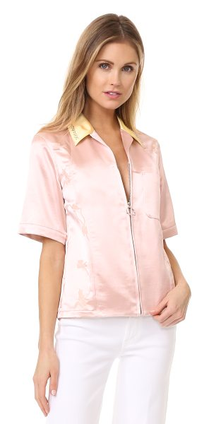 3.1 Phillip Lim western zip shirt in powder pink - Tonal flowers complement the retro look of this 3.1...