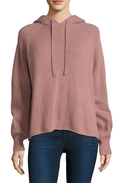 360Cashmere babe skull cashmere embroidered hoodie in tea rose chalk - On-trend hoodie in rib-knit cashmere fabric. Attached...
