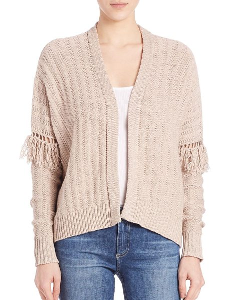 360CASHMERE fringe sleeve cardigan in almond - Luxe knit cotton cardigan detailed with fringes. Open...