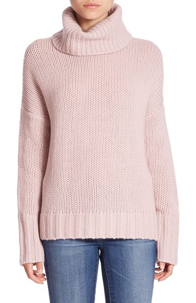 360Cashmere rhea turtleneck cashmere sweater in rose - Exquisitely woven cashmere sweater in relaxed fit....