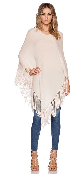 360Sweater Blanca poncho in tan - 100% cashmere. Dry clean only. Fringe trim. 360S-WK267....