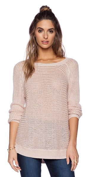 360Sweater Rea sweater in blush - 100% linen. Hand wash cold. Rib knit edges. 360S-WK259....