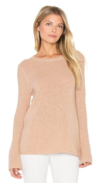 360SWEATER Selene Bell Sleeve Sweater in beige - 100% cashmere. Dry clean only. Rib knit edges....