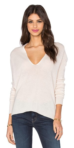 360Sweater Valeria plunge neck sweater in blush - 100% cashmere. Dry clean only. 360S-WK361. 29146....