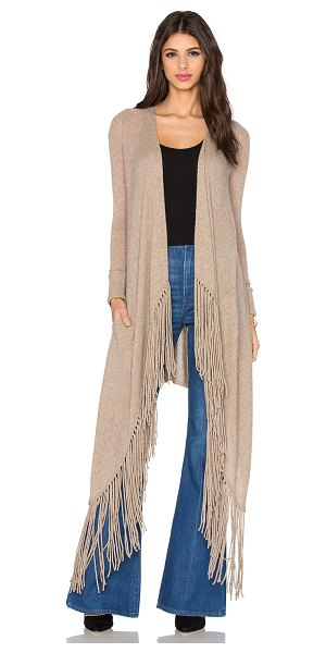 360Sweater Waikiki fringe cardigan in brown - 100% cashmere. Dry clean only. Open front. Side patch...