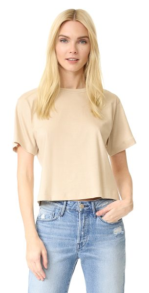 3x1 cropped boyfriend tee in champagne - A basic 3x1 tee with a cropped profile. Crew neckline....