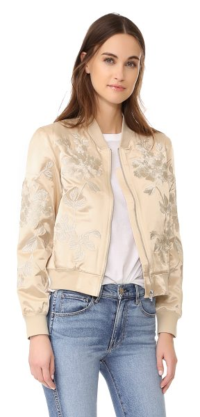 3x1 suka jacket in champagne - Tonal embroidery embellishes this glamorous 3x1 bomber...