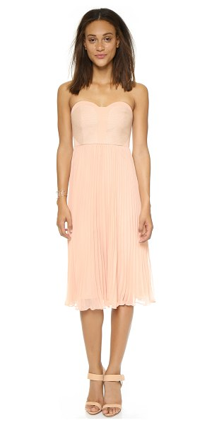 4.collective Strapless pleated dress in dark shell - Contrast jacquard panels accent the bodice of this...