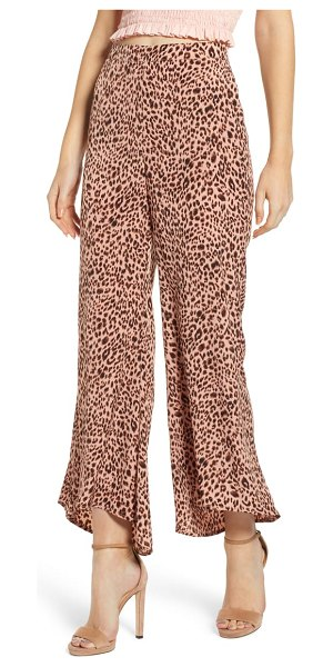 4SI3NNA animal print high/low hem pants in pink - Dare to flair in these exotic-print pants cut with...