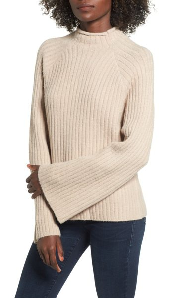 4SI3NNA bell sleeve sweater in tan memoir - Statement bell sleeves and supersoft fabric make this...