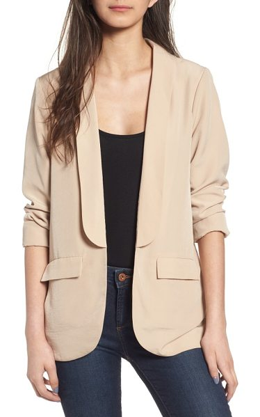 4SI3NNA long satin blazer in oyster - Chic and sophisticated in lustrous satin, this...
