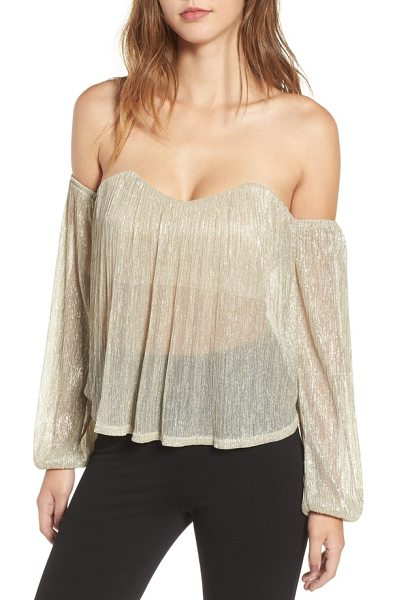 4SI3NNA off the shoulder top in gold metallic - Shimmer and shine in this shoulder-baring top designed...