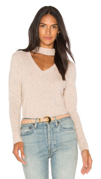 525 America Cashmere Donegal Tweed Choker Sweater in beige - 100% cashmere. Dry clean only. Neckline cut-out. Rib...