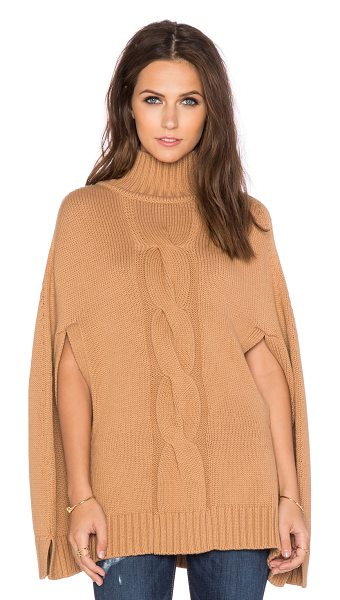 525 America Center cable mockneck poncho in tan - Cotton/Wool blend. Dry clean only. 525A-WK41. W5712. 528...