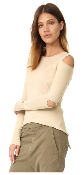 525 America cold shoulder cutout crew neck sweater in french vanilla - Cutouts at the shoulders and elbows reveal a peek of...