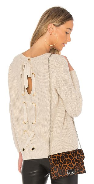525 America Laced Back Sweater in beige - 100% cotton. Hand wash cold. Knit fabric. Lace-up back...