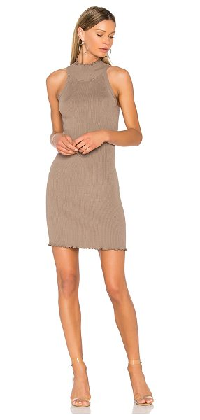 525 AMERICA Mock Neck Sweater Dress - 80% rayon 20% nylon. Hand wash cold. Unlined. Ruffled...